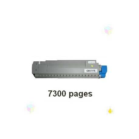 toner yellow pour imprimante Oki C801 équivalent 44643001