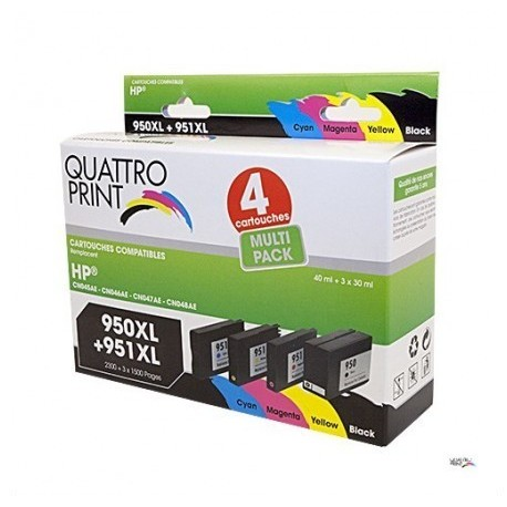 Pack Quattro Print HP950XL 951XL 4 cartouches compatible