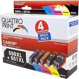 Pack Quattro Print PGI550XL CL551XL 5 cartouches compatibles Canon